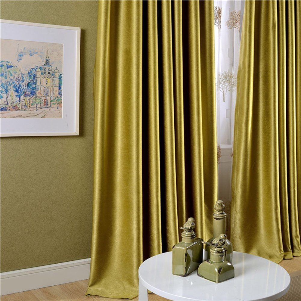 Living Room Charming Velvet Curtains For Modern Living Room Ideas In Yellow Velvet Curtains (Image 14 of 15)