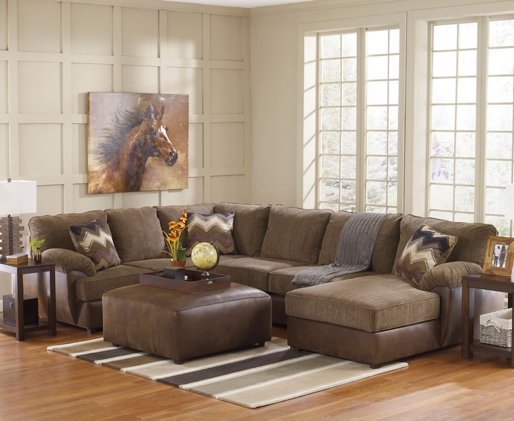 Living Room Fancy Image Of Living Room Design With L Shape Brown Pertaining To Chenille And Leather Sectional Sofa (Image 13 of 15)