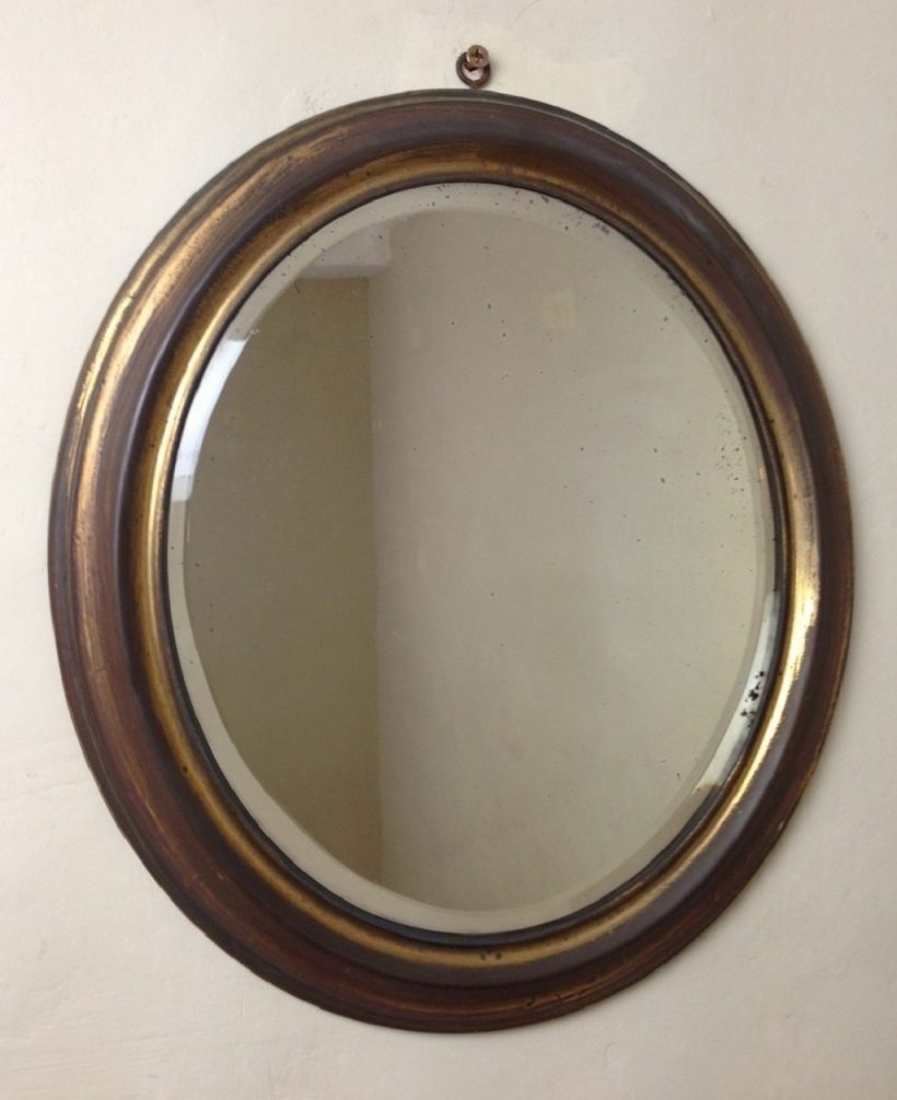 Living Room Round Stained Wooden Mirror Frame Mounted On Plain With Regard To Large Round Wooden Mirror (Image 7 of 15)