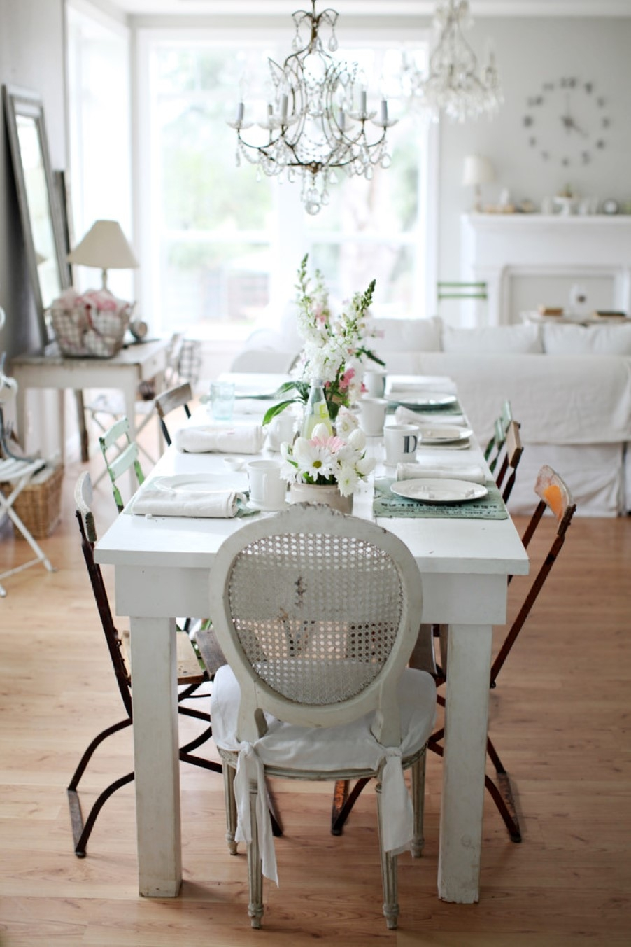 Living Room Small Shab Chic Living Room With Centerpiece Decor Intended For Small Shabby Chic Chandelier (Image 10 of 15)