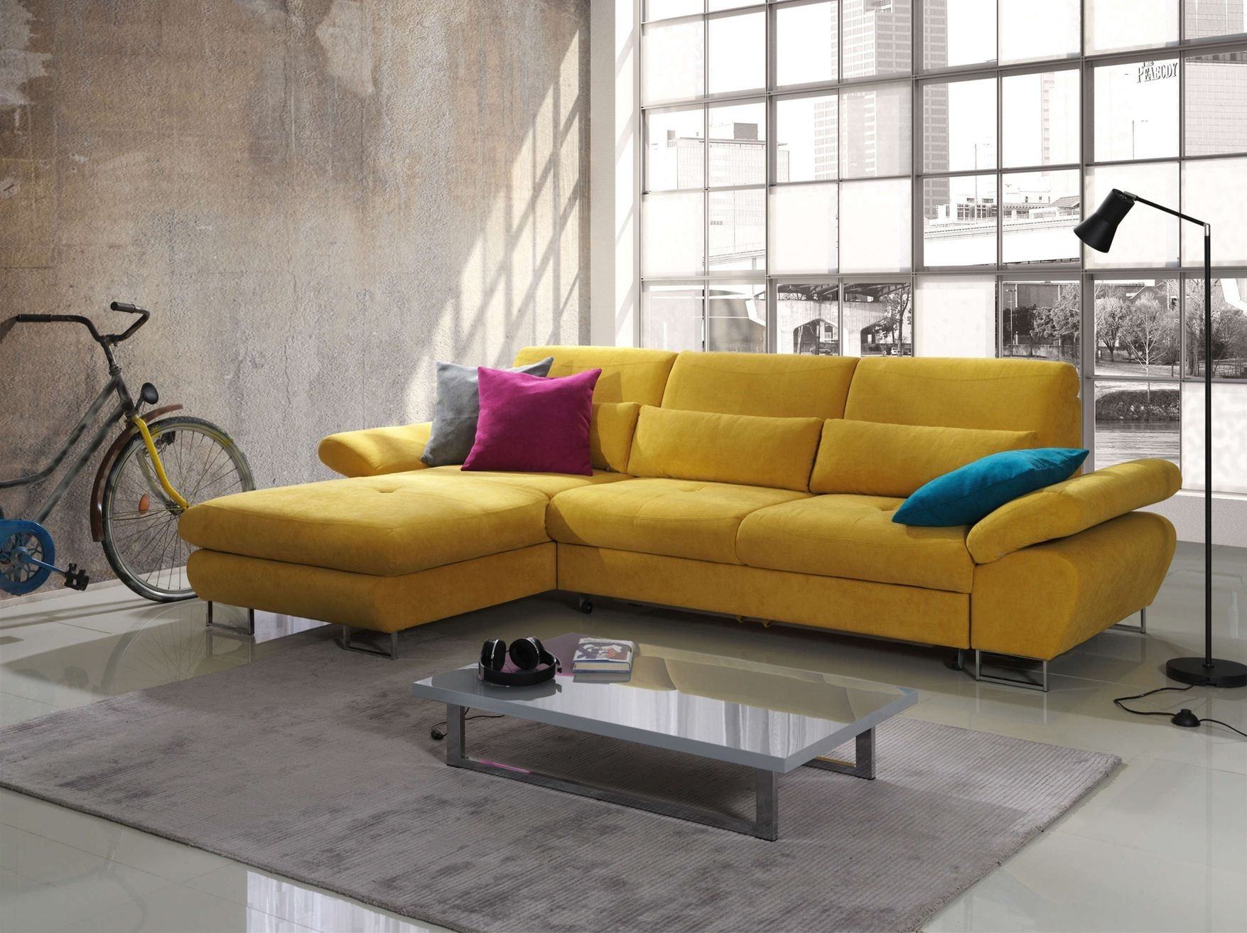 Living Room Verry Attractive Small Goldenrod Fabric Sectional Within Apartment Sectional Sofa With Chaise (Image 14 of 15)