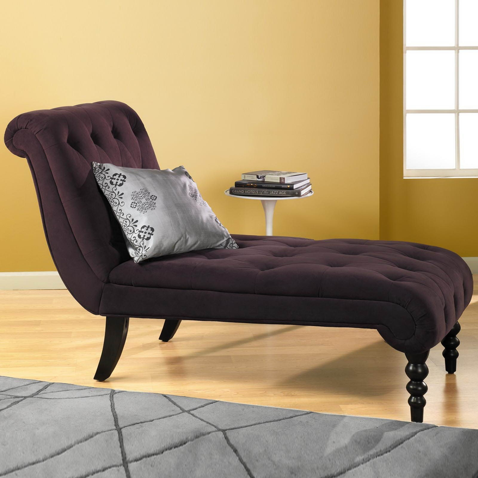Living Room Yellow Damask Pattern Modern Chaise Lounge Sofa With Intended For Backless Chaise Sofa (Image 7 of 15)
