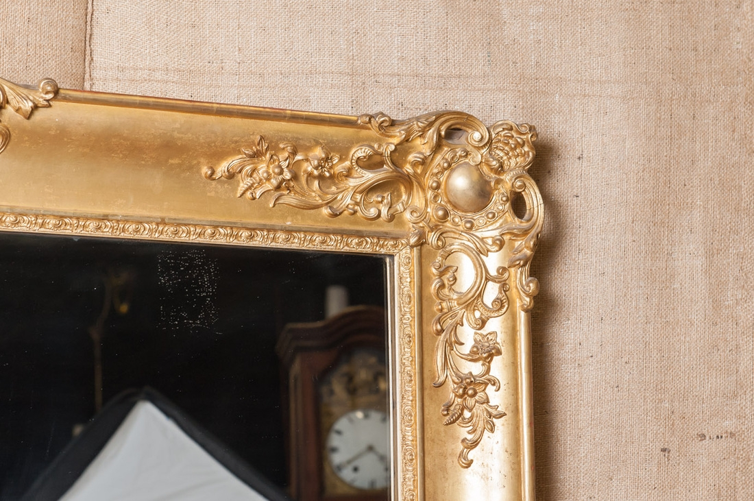 Lolo French Antiques Antique French Baroque Grand Scale Gold Leaf Inside Antique Gold Mirror French (Image 15 of 15)