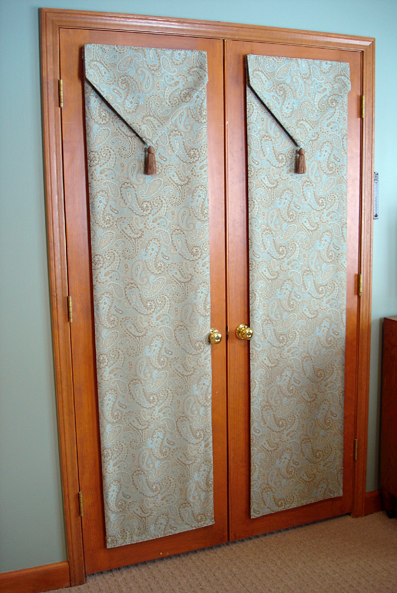 Long Brown Fabric Curtains For White Wooden Door Atlanta Online Regarding Fabric Doorway Curtains (Image 11 of 15)