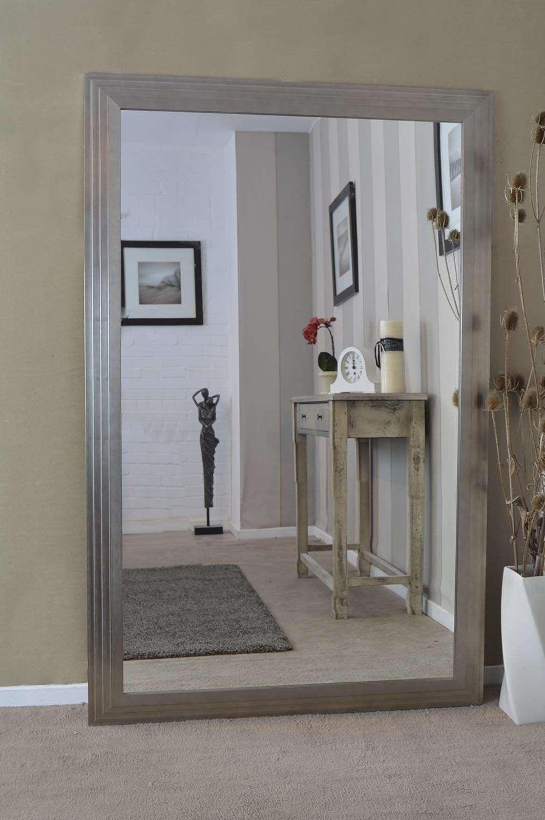 Long Wall Mirrors Xl Long Full Length Silver Wall Floor Mirror Throughout Long Silver Wall Mirror (Image 11 of 15)