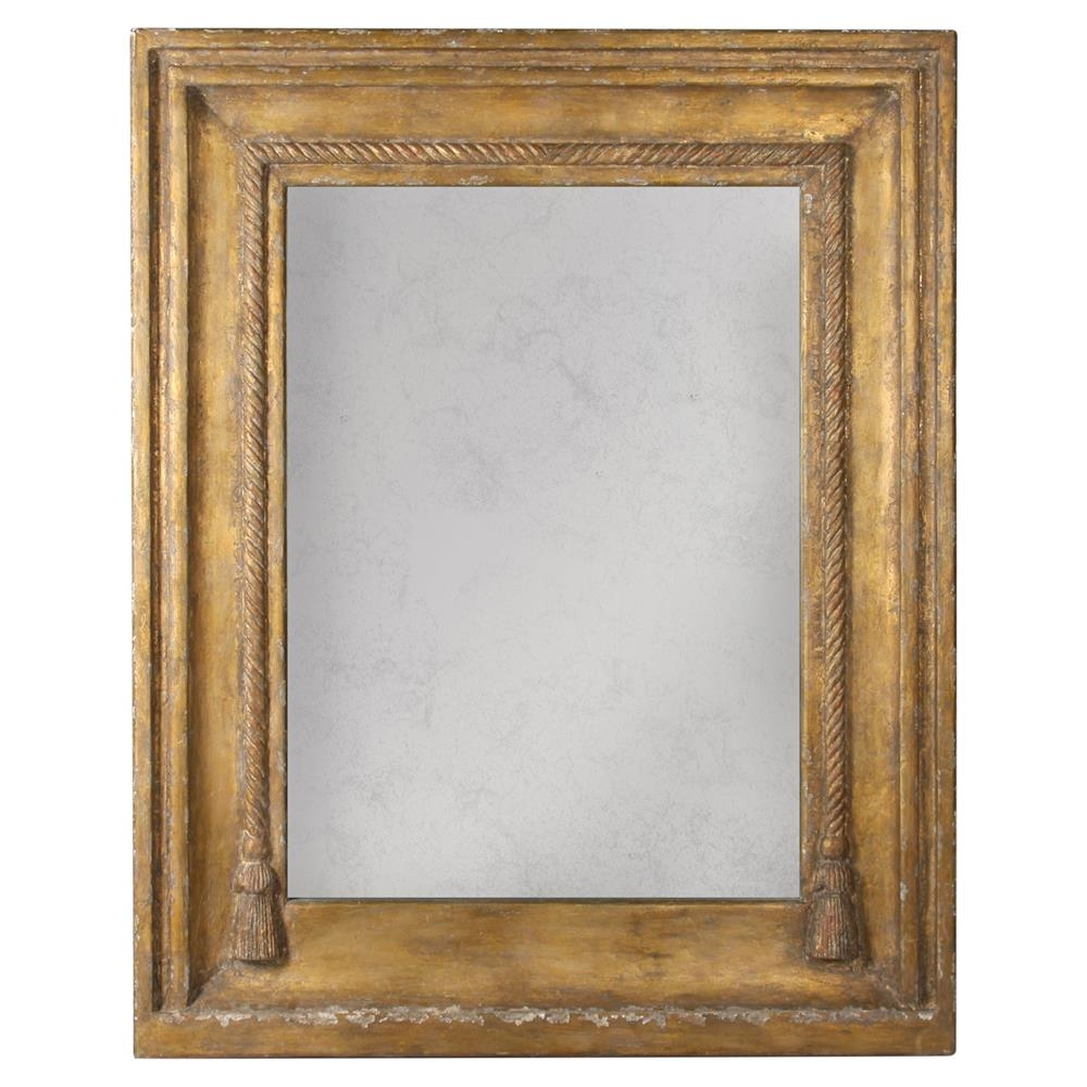 Lou French Country Rustic Brown Gold Frame Antiqued Wall Mirror With Regard To Antiqued Wall Mirror (Image 8 of 15)