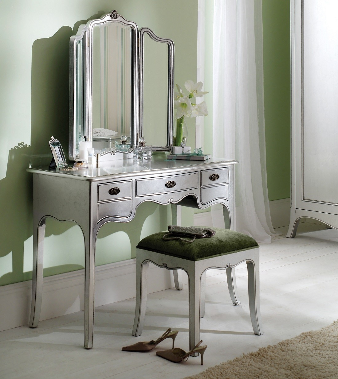 Louis French Silver Leaf Dressing Table With Mirror Oak Furniture Uk Throughout Silver Dressing Table Mirror (Image 9 of 15)