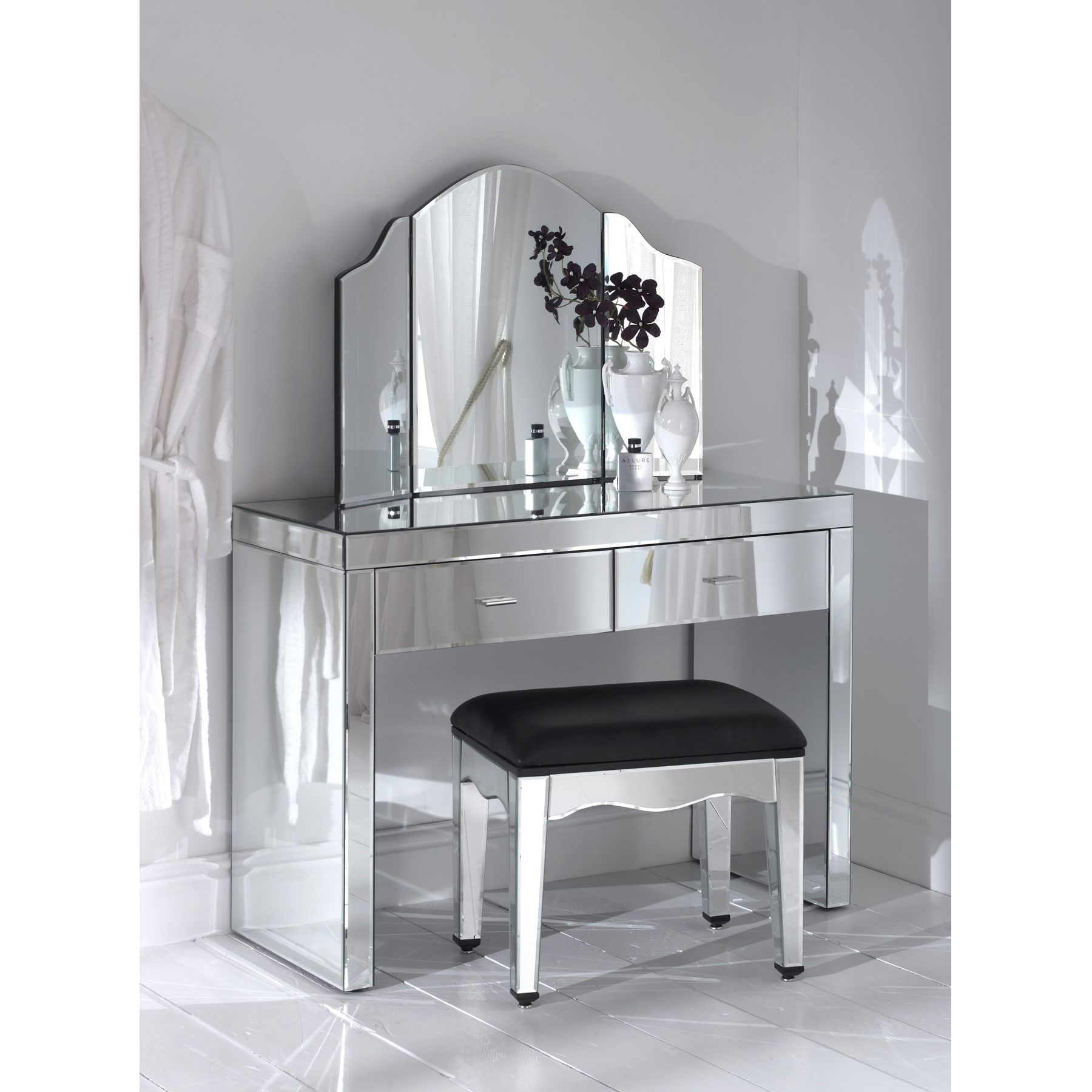Love This Mirrored Vanity Dream Home Pinterest Dressing Intended For Silver Dressing Table Mirror (Image 10 of 15)