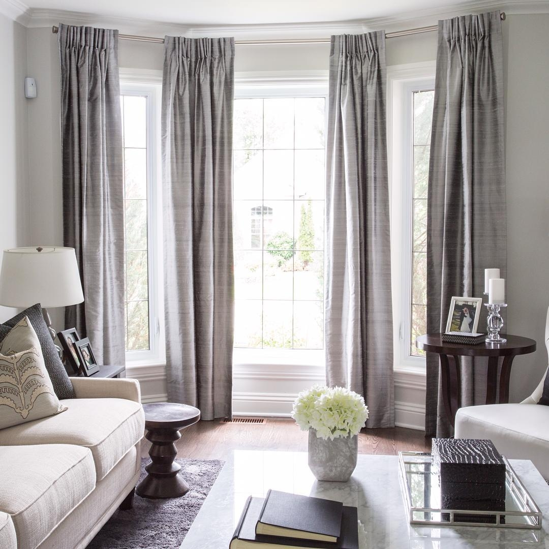 Lovely Bay Window Treatment Off Center Window Can Still Work In A With Regard To Blackout Curtains Bay Window (Image 12 of 15)