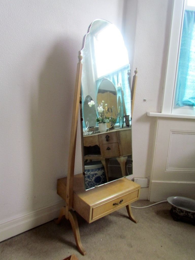Lovely Vintage Antique Free Standing Cheval Mirror Vgc Very Shab Intended For Antique Free Standing Mirror (Image 11 of 15)
