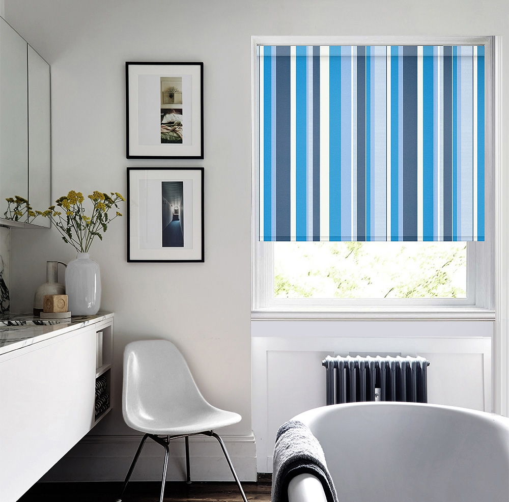 Lovington Boston Roller Blind With Regard To Blue And White Striped Blinds (Image 7 of 15)