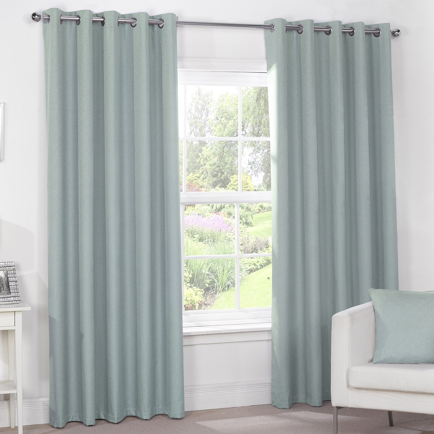 Luna Duck Egg Luxury Blackout Eyelet Curtains Pair Julian Charles Inside Duck Egg Blue Blackout Curtains (Image 11 of 15)
