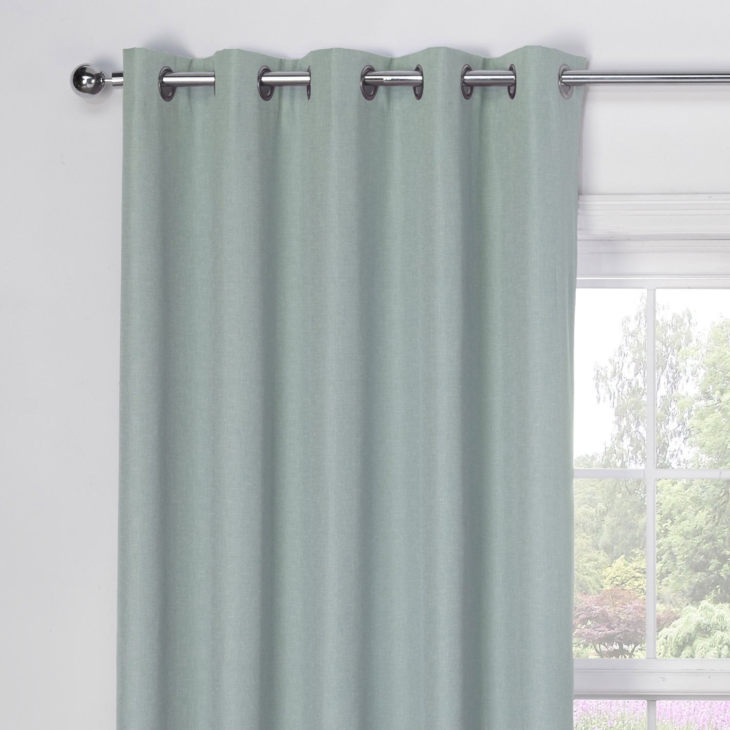 Luna Duck Egg Luxury Blackout Eyelet Curtains Pair Julian Charles Within Duck Egg Blue Blackout Curtains (Image 12 of 15)