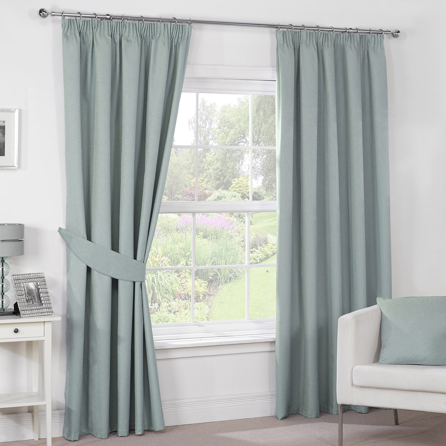Luna Duck Egg Luxury Blackout Pencil Pleat Curtains Pair Intended For Duck Egg Blue Blackout Curtains (Image 13 of 15)