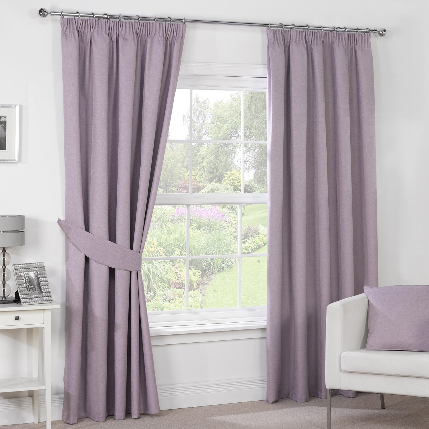 Luna Mauve Luxury Blackout Pencil Pleat Curtains Pair Julian Intended For Pencil Pleat Curtains (Image 6 of 15)