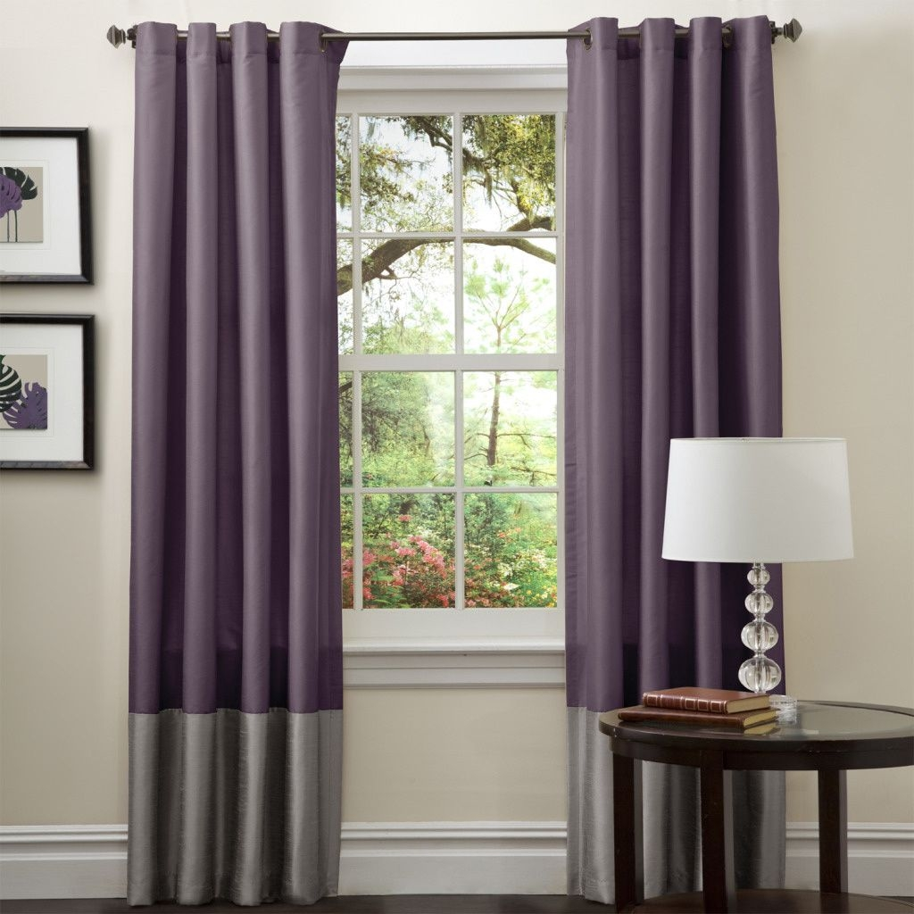 Lush Decor Prima Grey Purple 84 Inch Curtain Panel Pair Lush Within Monsoon Curtains (Image 5 of 15)