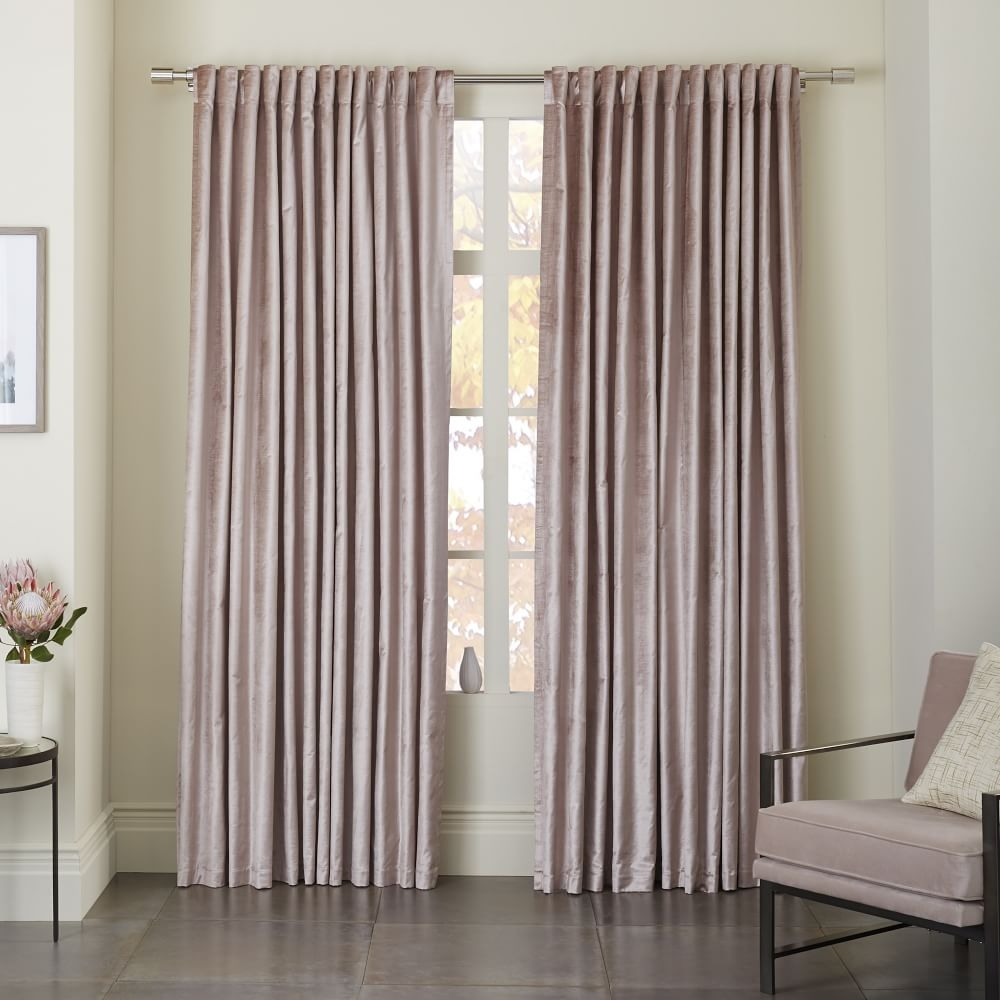 Luster Velvet Curtain Dusty Blush West Elm Home Sweet Home Regarding Velvet Material For Curtains (Image 8 of 15)