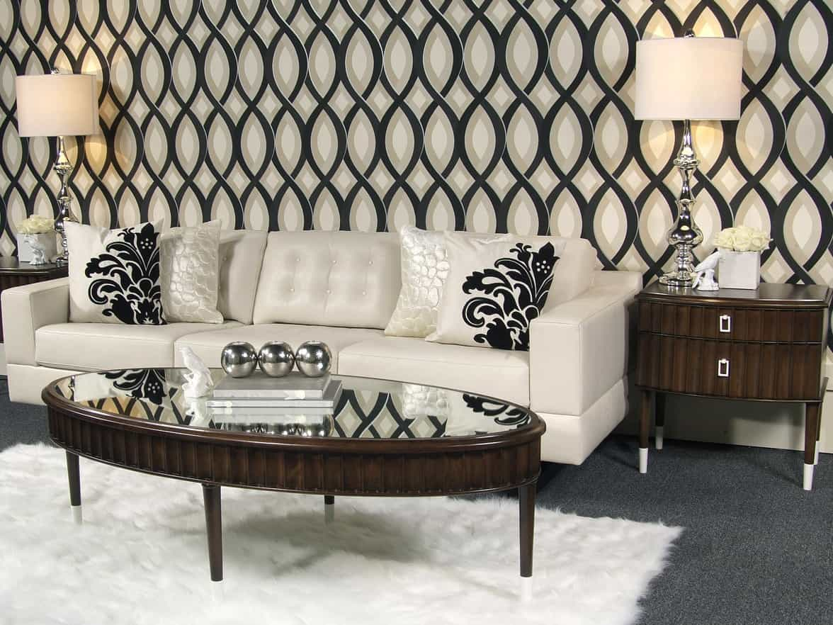 Featured Image of Luxe White Flokati Rug For Living Room With Black White Wallpaper Decor