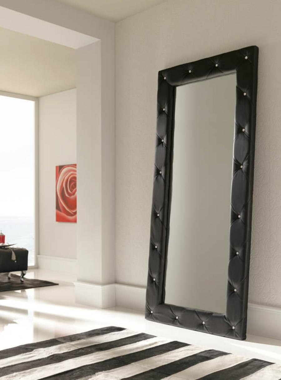 Luxurious Quilted 2 Metre Tall Black Wall Mirror Full Length Inside Black Leather Framed Mirror (Image 8 of 15)