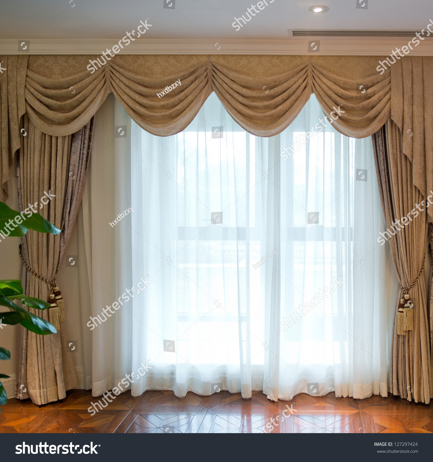 Luxury Curtain Copyspace Middle Stock Photo 127297424 Shutterstock Within Luxury Curtains (Image 9 of 15)