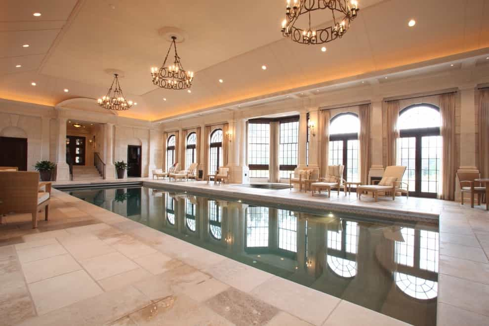 Luxury Indoor Swimming Pool In Classic Style With Beauty Chandeliers Lighting (Image 12 of 14)