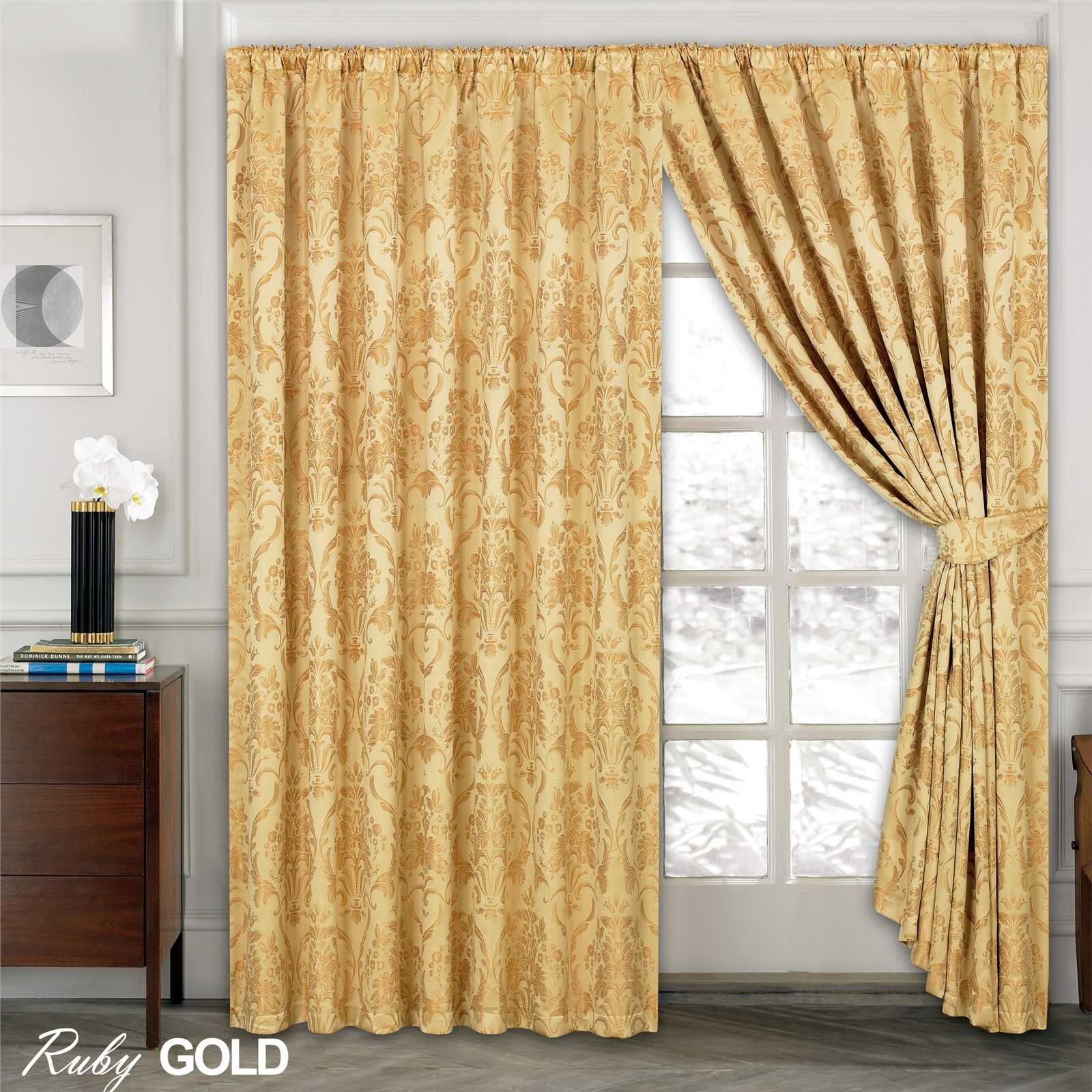 Luxury Jacquard Curtains Fully Lined Ready Made Tape Top Pencil Throughout Pencil Pleat Curtains (View 2 of 15)