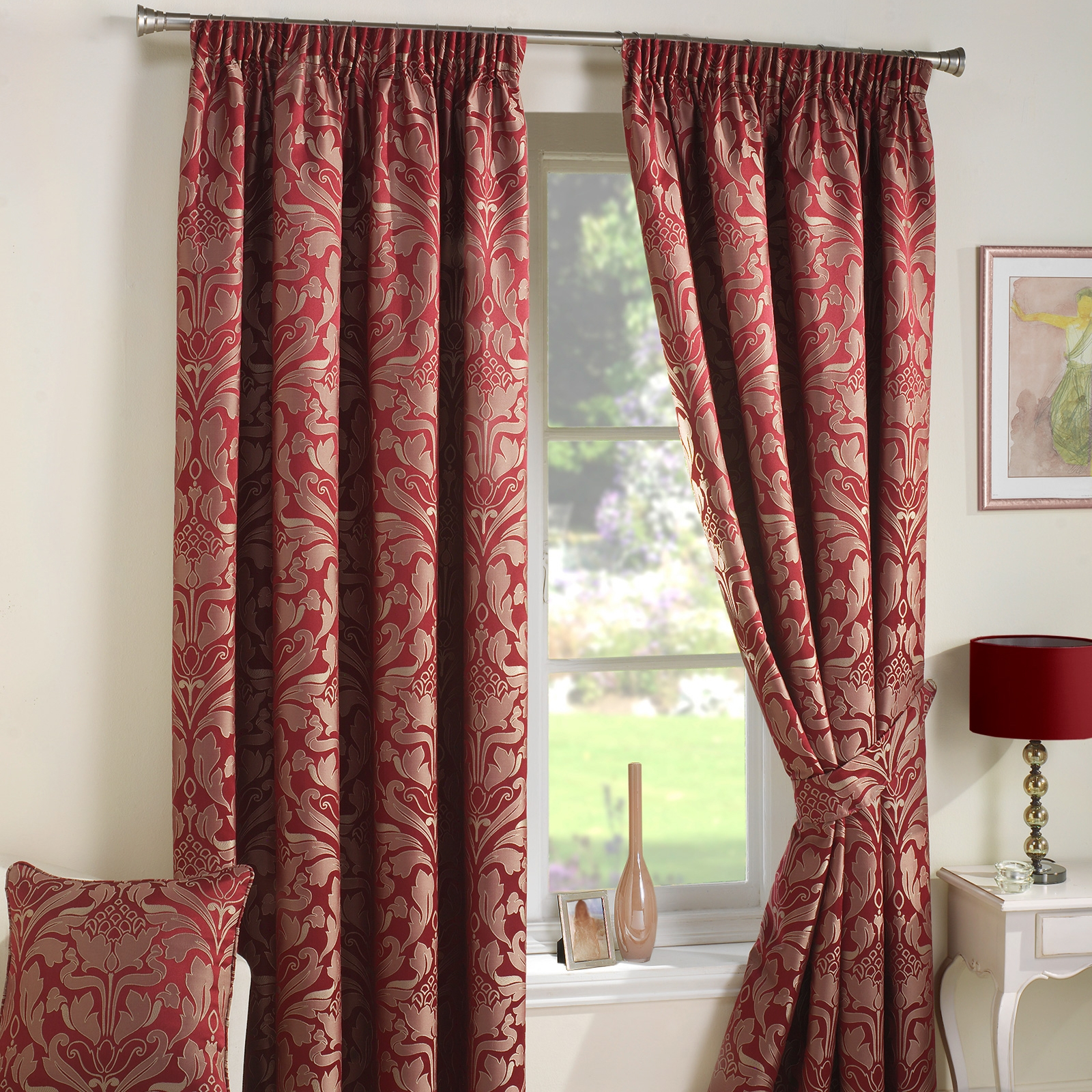 Luxury Jacquard Curtains Heavy Weight Fully Lined Pencil Pleat With Regard To Heavy Lined Curtains (Image 9 of 15)