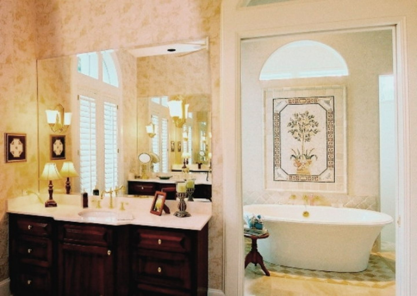 Luxury Master Bathroom Designs White Vessel Bath Sink Big Wall Pertaining To Cream Wall Mirror (Image 13 of 15)