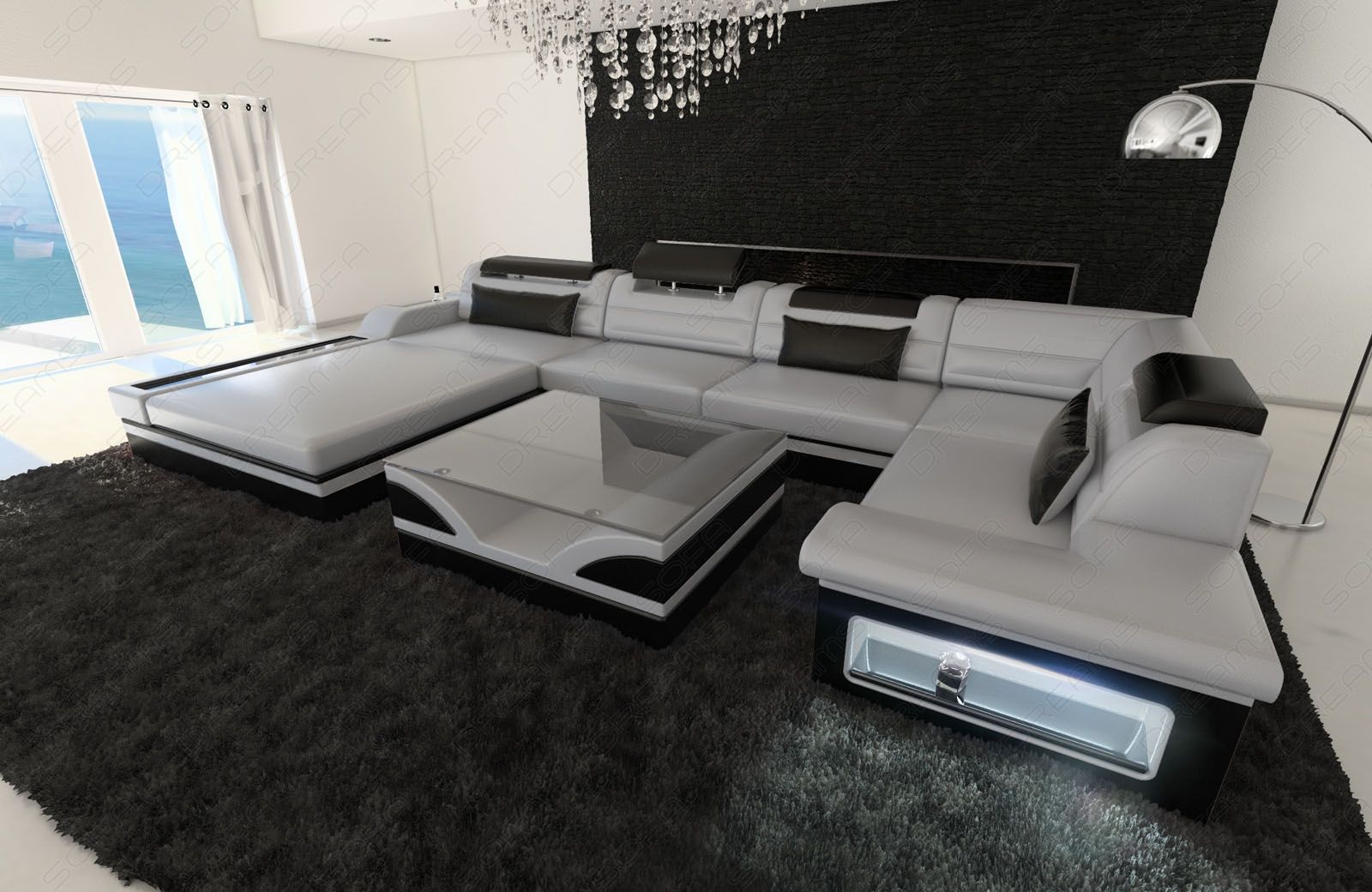 Luxury Sectional Sofa Mezzo U With Led Lights Leather Sofa Inside Expensive Sectional Sofas (Image 14 of 15)