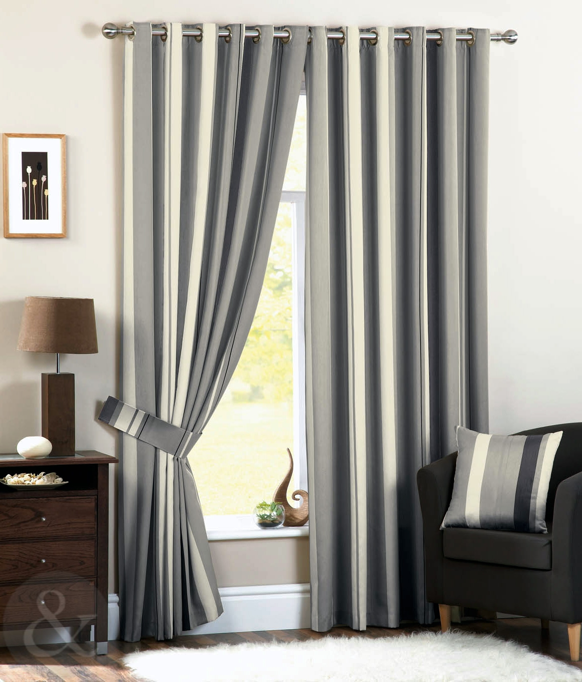 Luxury Striped Faux Silk Curtains Ready Made Eyelet Ring Top Fully Regarding Silk Ready Made Curtains (Image 4 of 15)