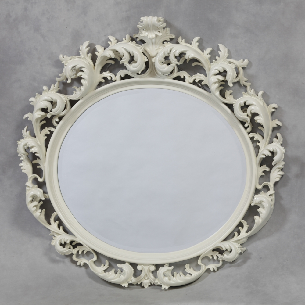 M94 Creamantique White Oval Large Rococo Mirror Sanding Intended For Large White Rococo Mirror (Image 9 of 15)