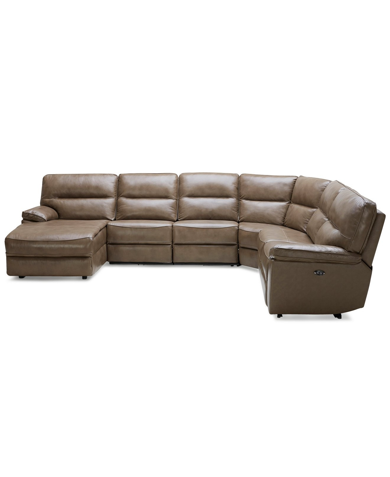 Macys Leather 6 Piece Power Reclining Sectional Sofa 3 Power In 6 Piece Leather Sectional Sofa (Image 6 of 15)