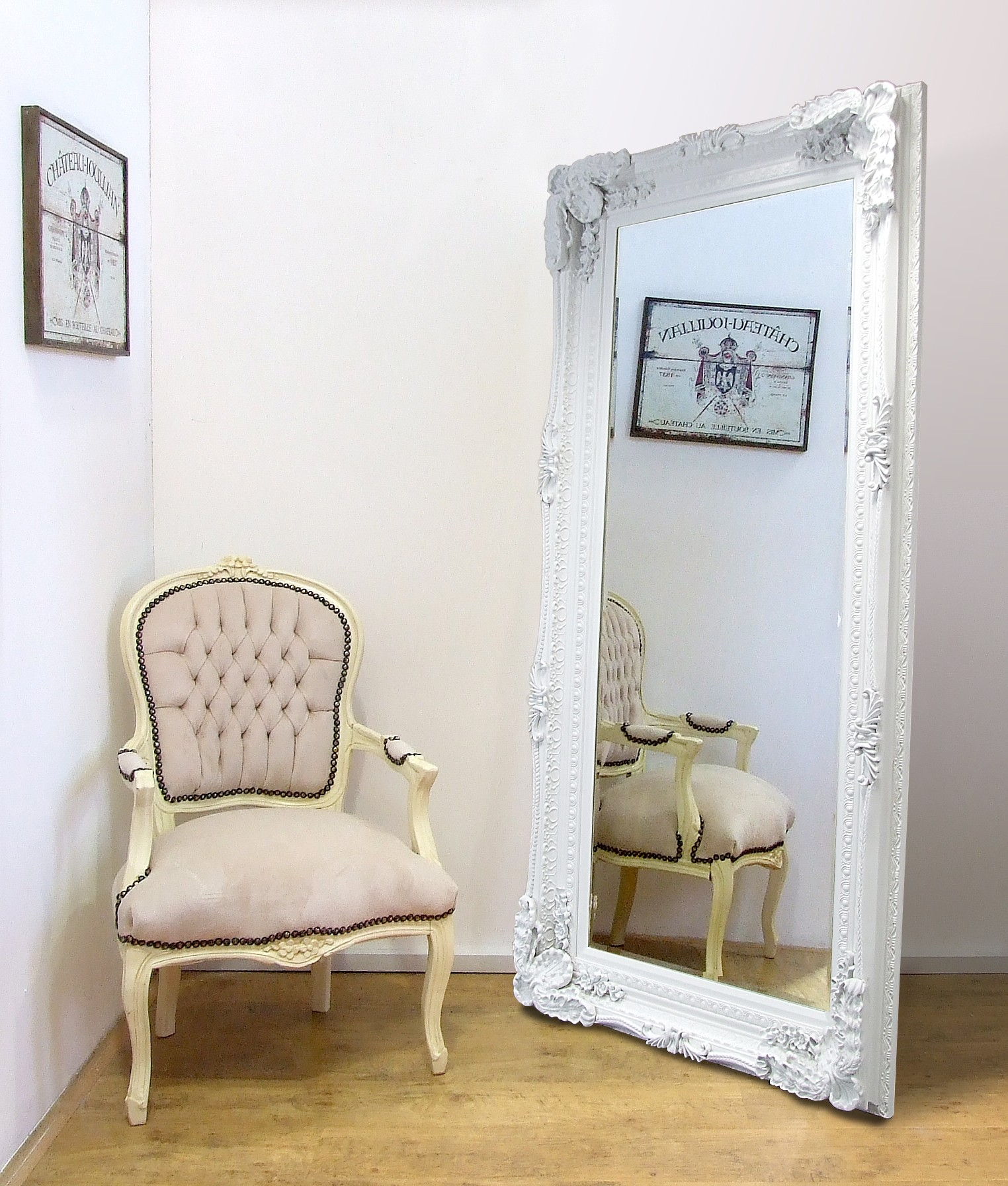 Madrid Ornate X Large French Full Length Wall Leaner Mirror White In Full Length French Mirror (View 6 of 15)