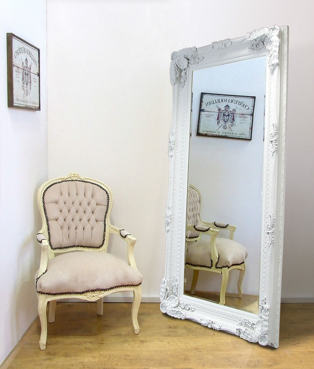 Madrid Ornate X Large French Full Length Wall Leaner Mirror White Intended For French Full Length Mirror (Image 10 of 15)