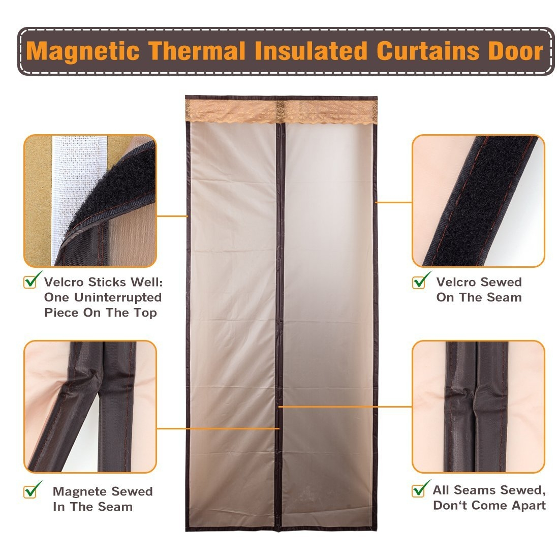 Magnetic Thermal Insulated Door Curtain Enjoy Your Cool Summer And With Thermal Insulation Curtains (Image 7 of 15)