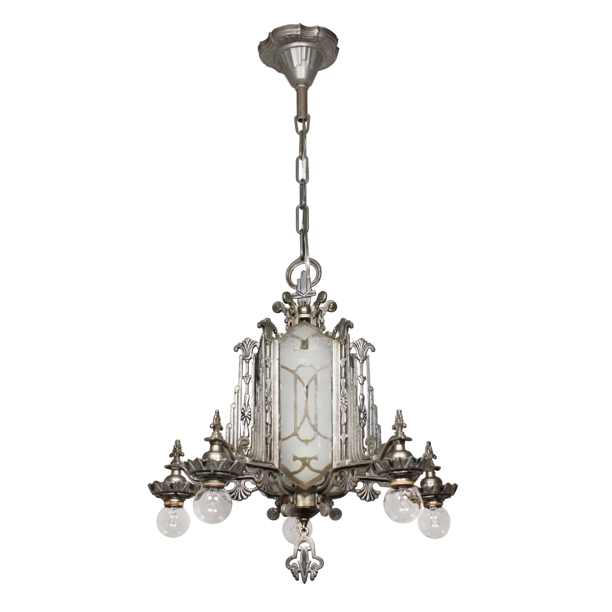 Magnificent Antique Art Deco Chandelier Mirrored And Etched Glass In Mirrored Chandelier (Image 7 of 15)