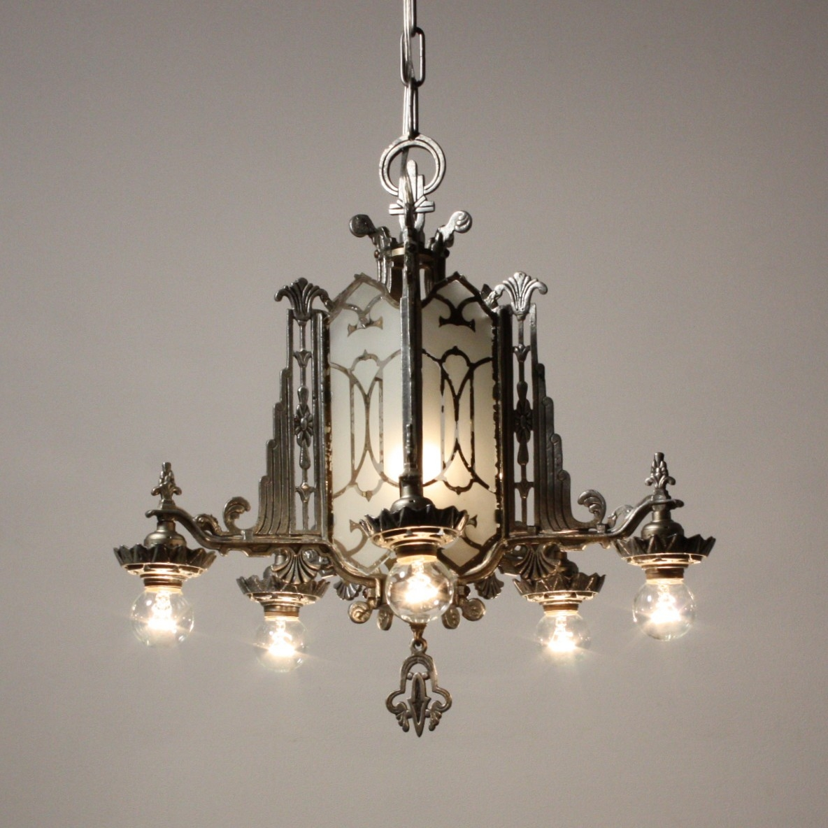 Magnificent Antique Art Deco Chandelier Mirrored And Etched Glass Throughout Mirrored Chandelier (Image 9 of 15)