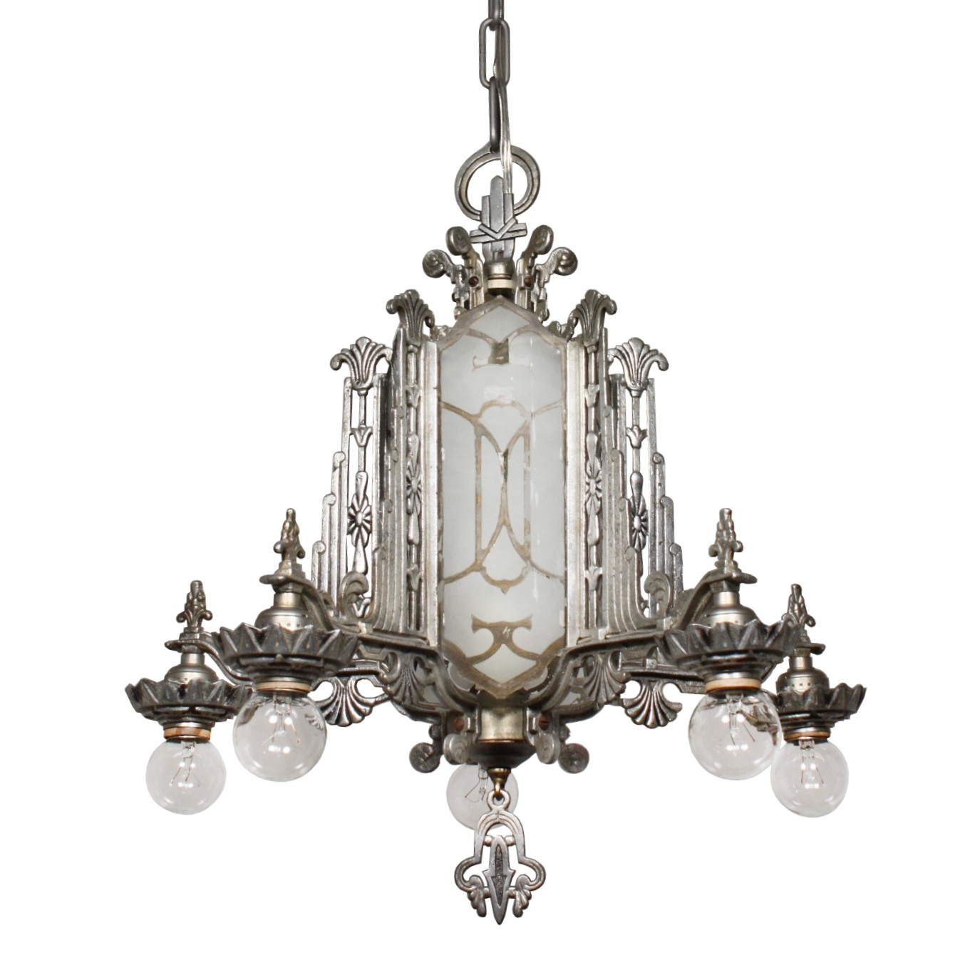 Magnificent Antique Art Deco Chandelier Mirrored And Etched Glass Throughout Mirrored Chandelier (Image 8 of 15)