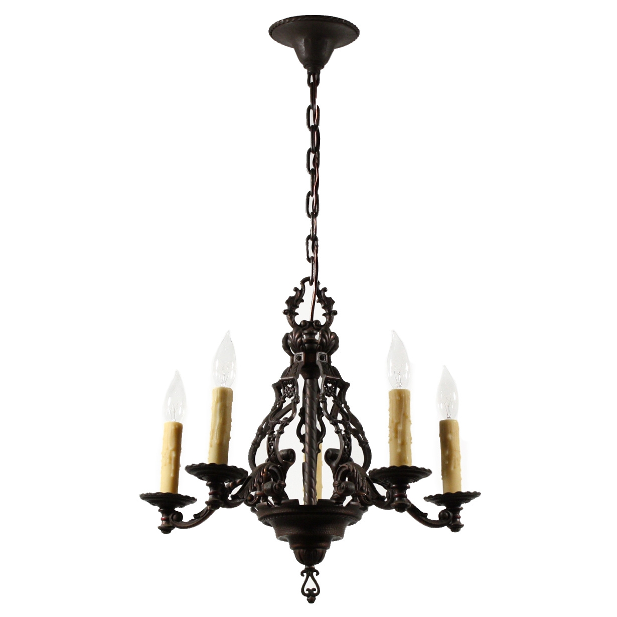 Magnificent Antique Figural Five Light Chandelier Cast Iron With Cast Iron Antique Chandelier (Image 13 of 15)