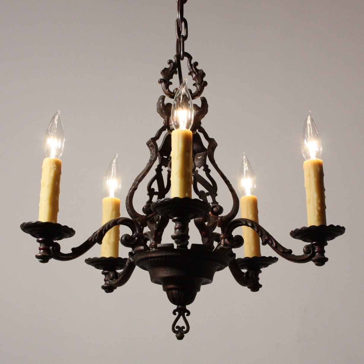Magnificent Antique Figural Five Light Chandelier Cast Iron With Regard To Cast Iron Antique Chandelier (Image 14 of 15)
