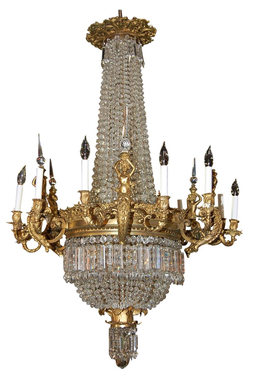 Magnificent French Bronze And Crystal Chandelier Via Ru Lane Throughout Large Bronze Chandelier (Image 11 of 15)