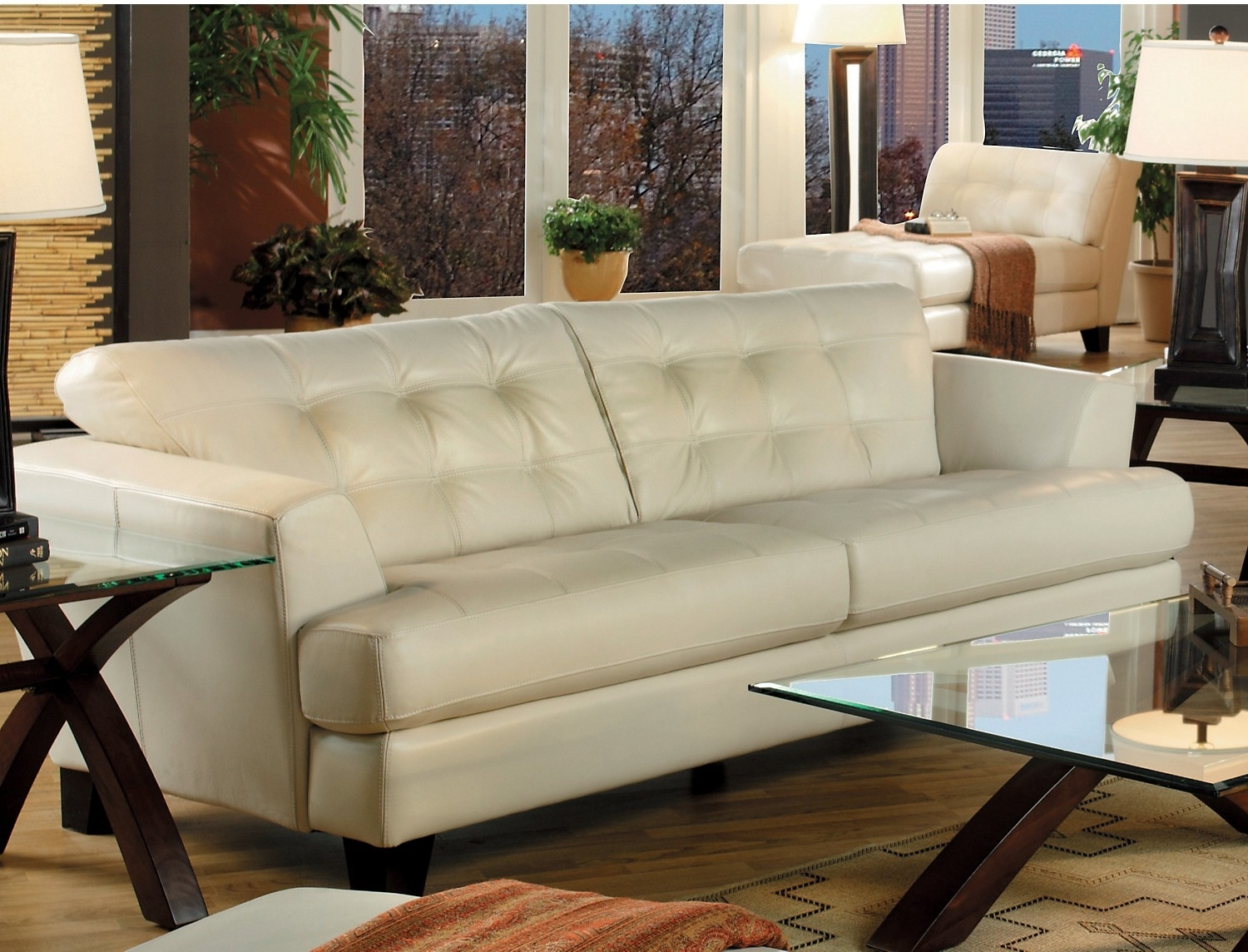 Main Floor Avenue Genuine Leather Sofa Ivory The Brick Home Intended For Brick Sofas (Image 9 of 15)