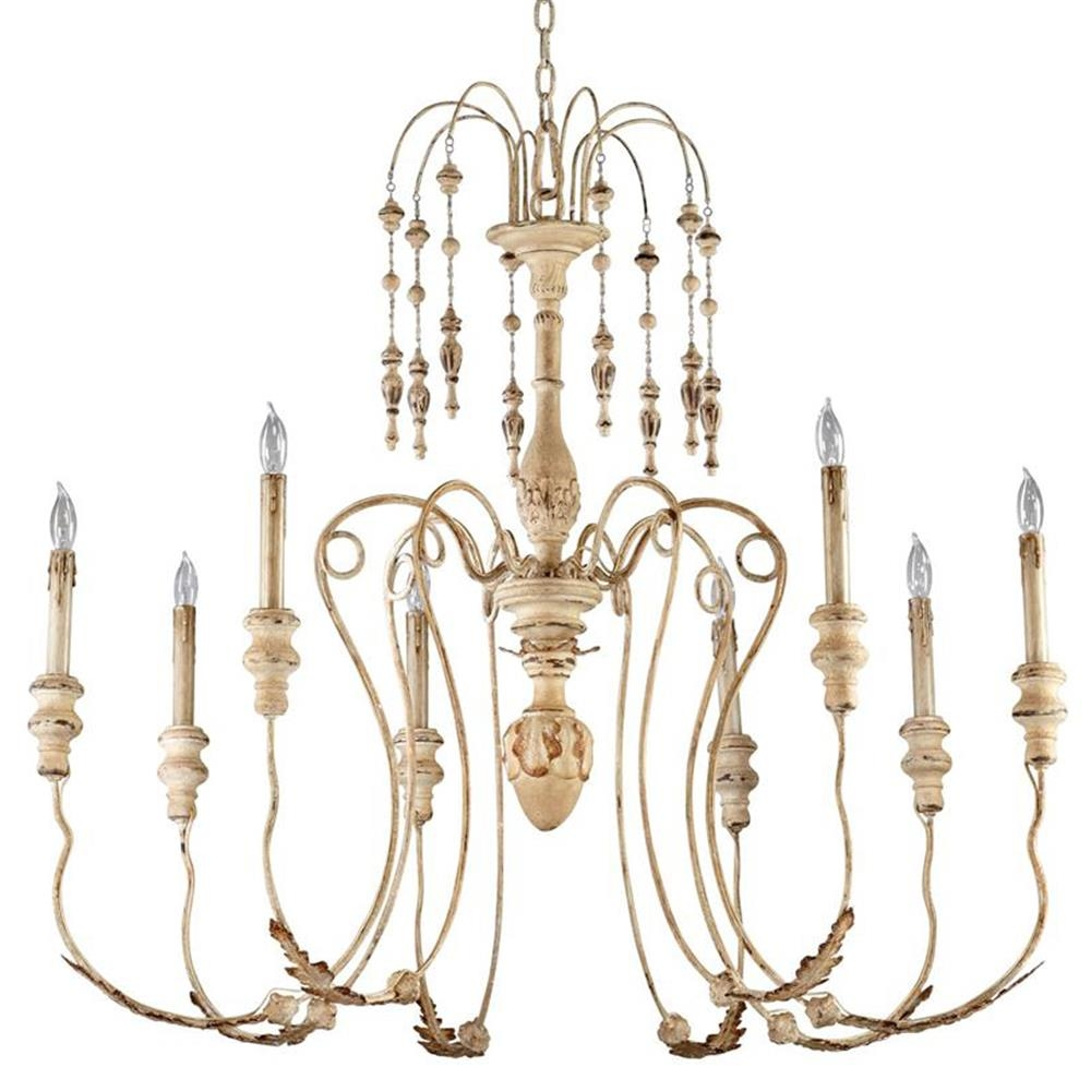 Maison French Country Antique White 8 Light Chandelier Kathy Kuo For French Chandelier (Image 15 of 15)