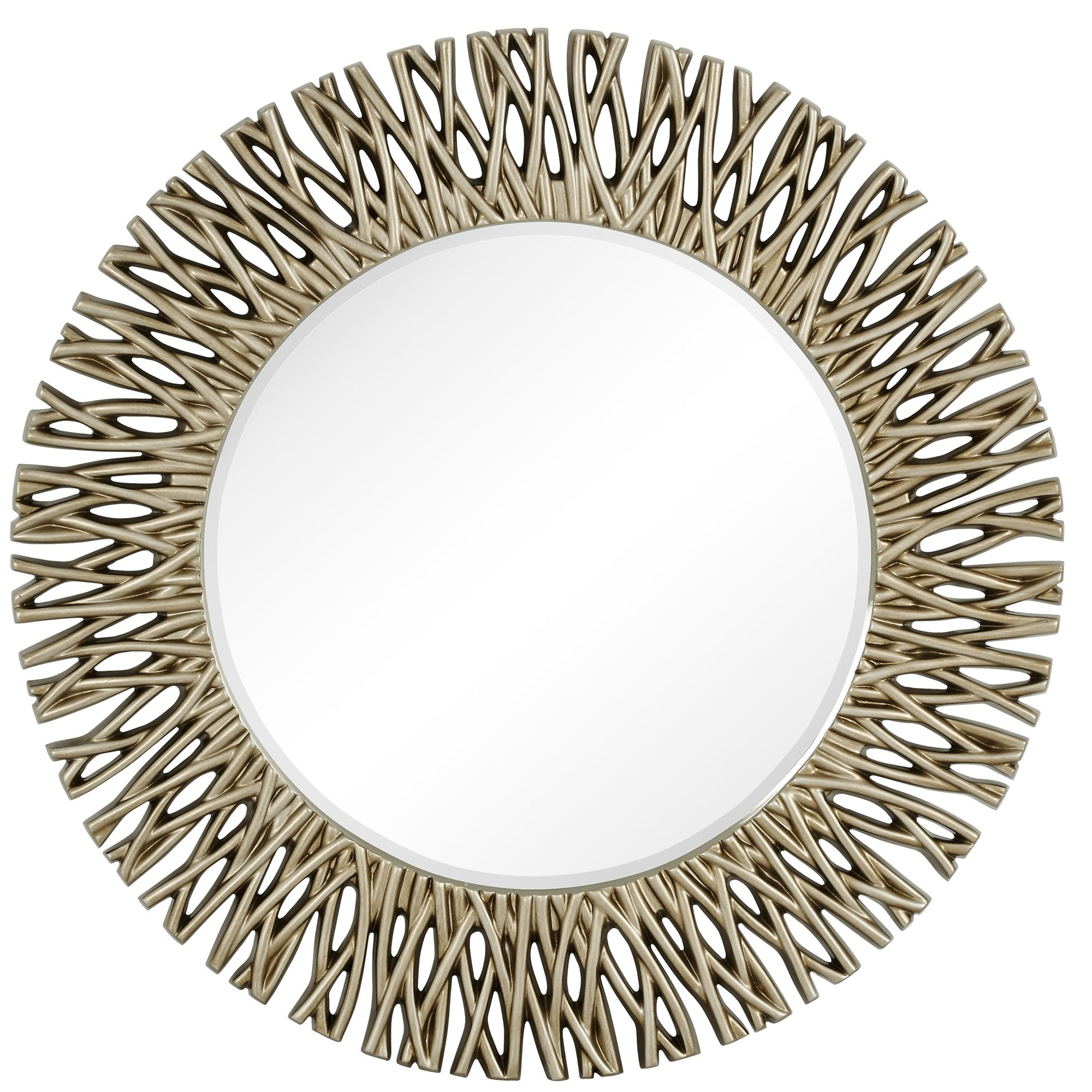Majestic Mirror Large Round Antique Silver Decorative Beveled Regarding Large Oval Wall Mirror (Image 12 of 14)