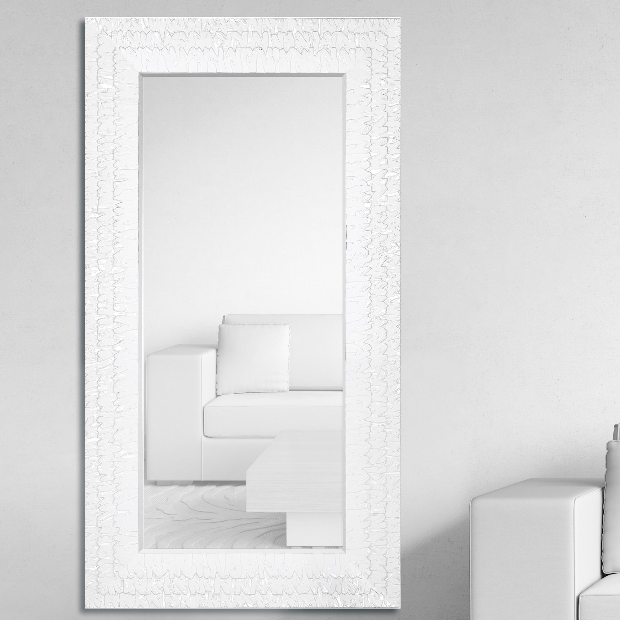 Bathroom mirror bevelled edge