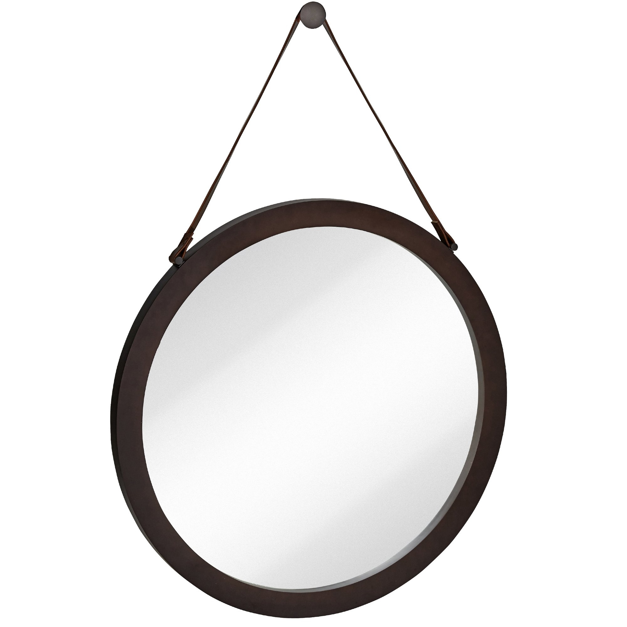 Majestic Mirror Round Urban Modern Leather Strap Decorative In Round Leather Mirror (Image 7 of 15)