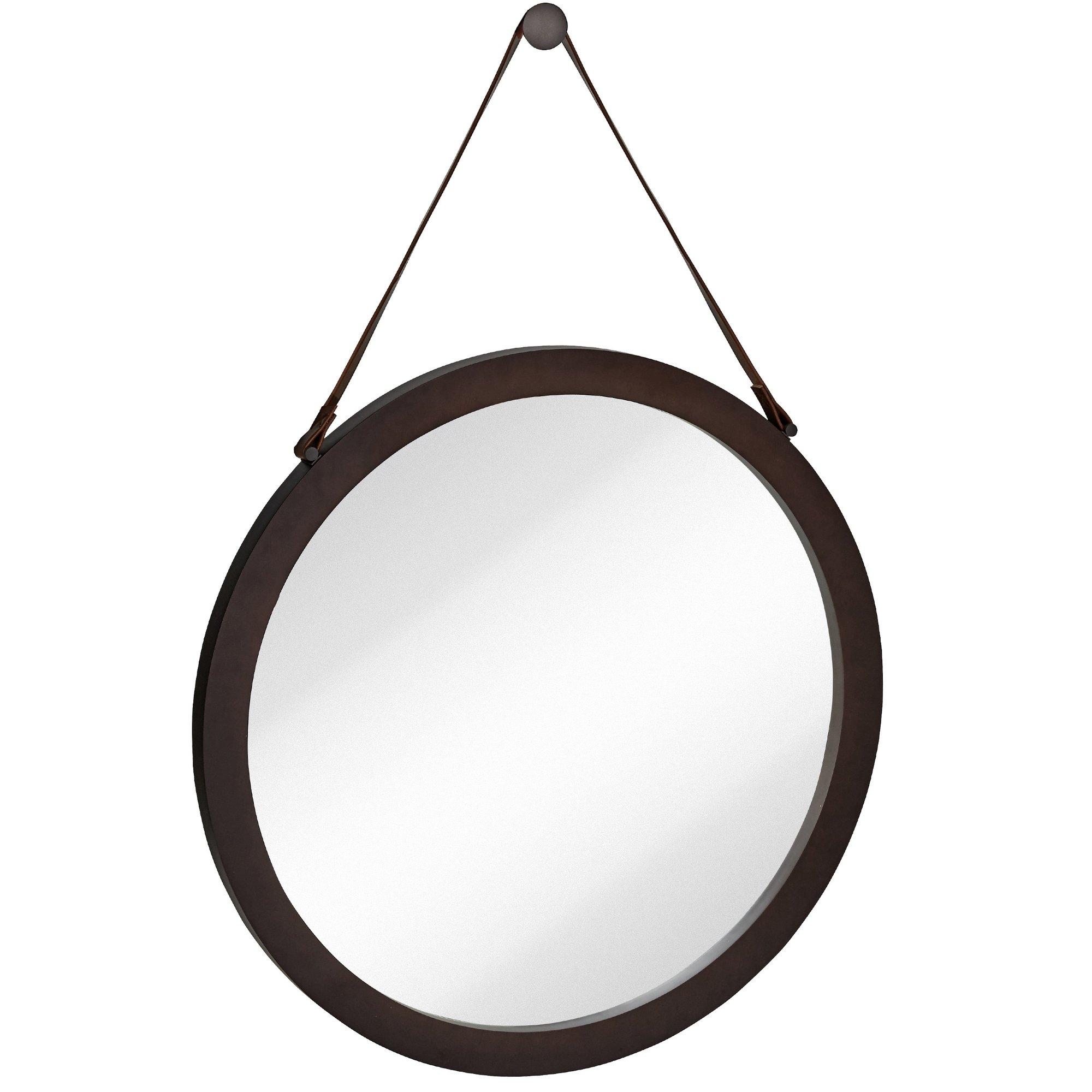 Majestic Mirror Round Urban Modern Leather Strap Decorative In Round Leather Mirror (View 7 of 15)