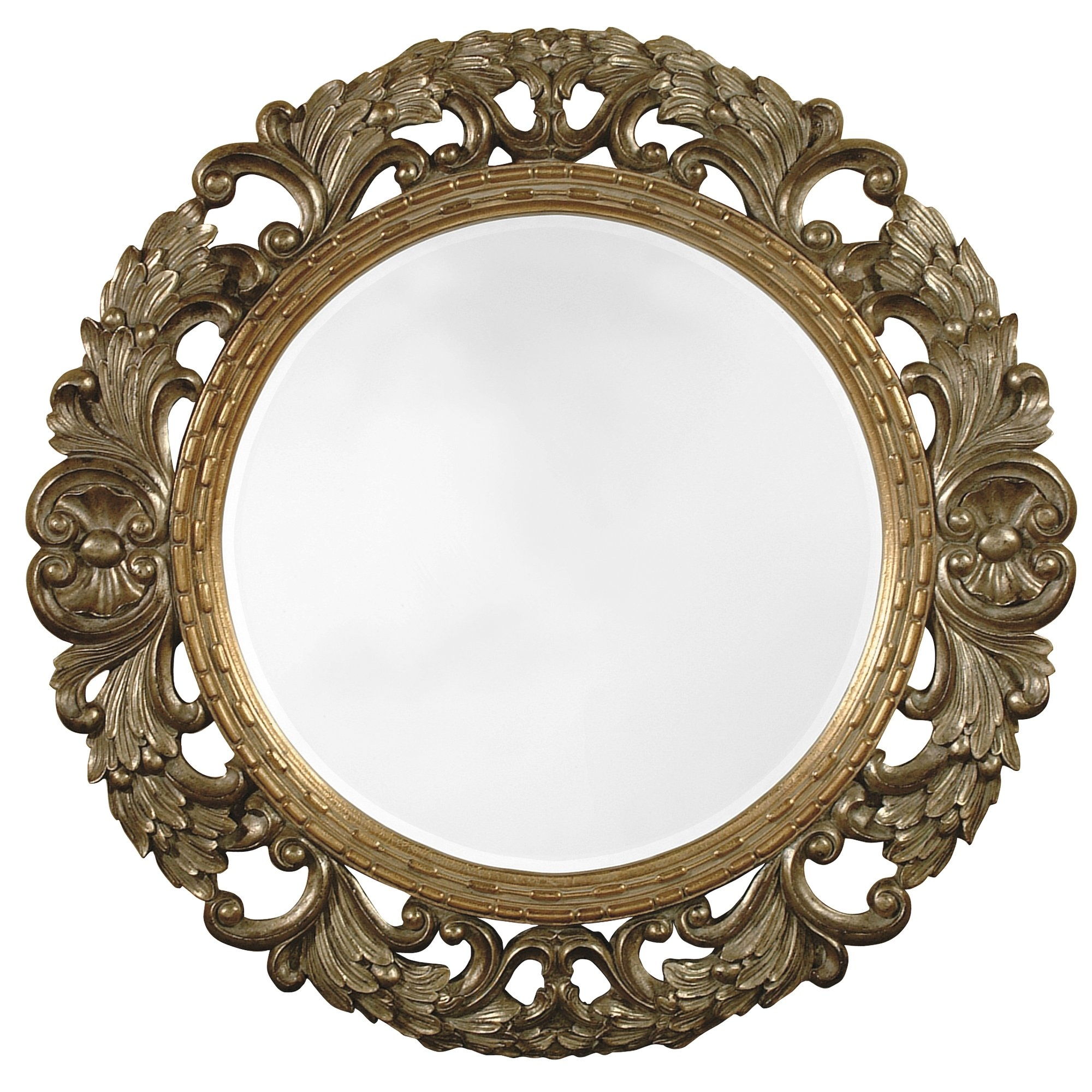 Majestic Mirror Traditional Antique Silver Round Beveled Glass Intended For Round Antique Mirror (Image 8 of 15)