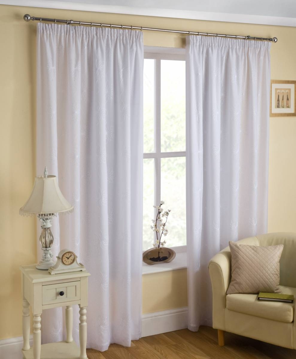 Malaga Lined Voile Curtains White Or Cream Price Per Pair Net With Cream Lined Curtains (Image 11 of 15)