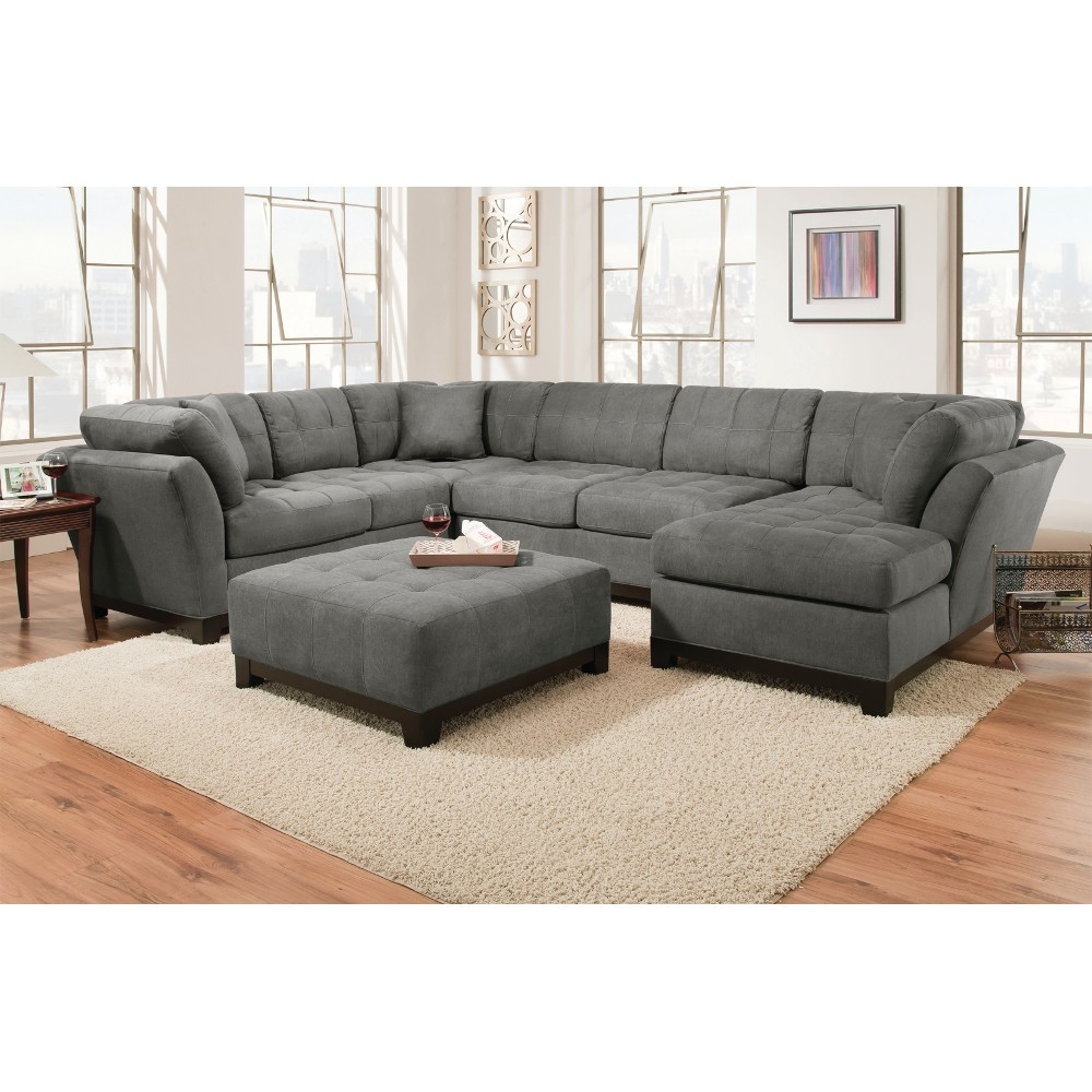 Manhattan Sectional Sofa Loveseat Rsf Chaise Slate Inside Corinthian Sectional Sofas (Image 11 of 15)